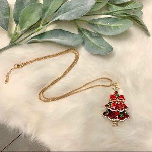 Red Rhinestone Embellished Christmas Tree Necklace